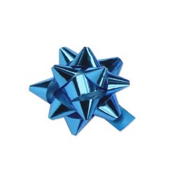 Mini Star Bows - 5cm - Metallic Light Blue