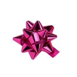 Mini Star Bows - 5cm - Metallic Hot Pink