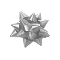 Star Gift Bows - 6.5cm - Silver