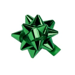 Star Bows - 6.5cm - Metallic Emerald Green