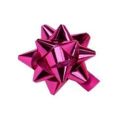 Star Bows - 6.5cm - Metallic Hot Pink