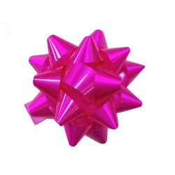 Star Gift Bows - 9cm - Glossy Hot Pink