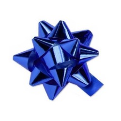 Star Gift Bows - 9cm - Metallic Royal Blue