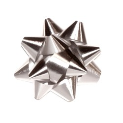 Star Gift Bows - 9cm - Metallic Silver
