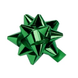 Star Gift Bows - 9cm - Metallic Emerald Green