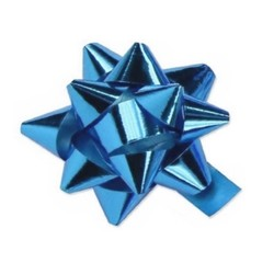 Star Gift Bows - 9cm - Metallic Light Blue