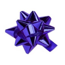 Star Gift Bows - 9cm - Metallic Violet Purple