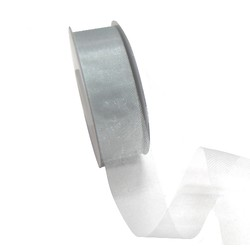 Sheer Organza Cut Edge Ribbon - 25mm x 50m - Silver