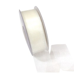 Sheer Organza Cut Edge Ribbon - 25mm x 50m - Cream