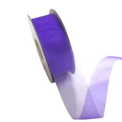 Sheer Organza Cut Edge Ribbon - 25mm x 50m - Violet