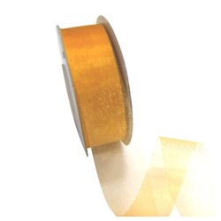 Sheer Organza Cut Edge Ribbon - 25mm x 50m - Gold