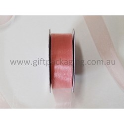 Sheer Organza Cut Edge Ribbon - 25mm x 50m - Dusty Rose