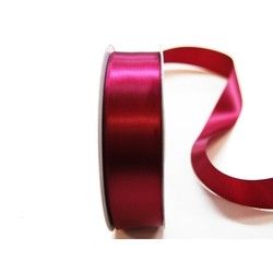 Satin Ribbon - Woven Edge -25mm x 30m - Burgundy