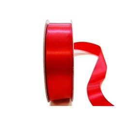 Satin Ribbon - Woven Edge -25mm x 30m - Red
