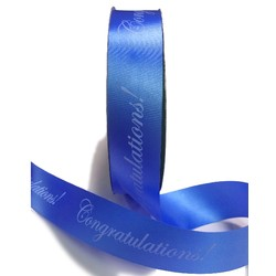 Printed Florist Tear Ribbon - 30mm x 91M - Congratulations! - Blue