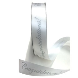 Printed Florist Tear Ribbon - 30mm x 91M - Congratulations! - Silver