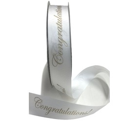 Printed Florist Tear Ribbon - 30mm x 91M - Congratulations! - Gold