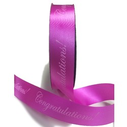 Printed Florist Tear Ribbon - 30mm x 91M - Congratulations! - Pink