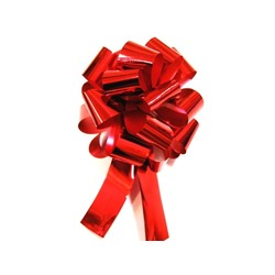 12 x Pull String Pom Pom Bow - Metallic Red