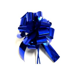 12 x Pull String Pom Pom Bow - Metallic Blue
