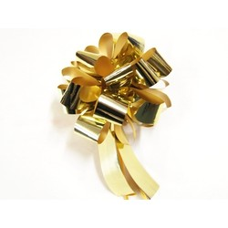 12 x Pull String Pom Pom Bow - Metallic Gold