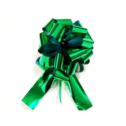 12 x Pull String Pom Pom Bow - Metallic Green