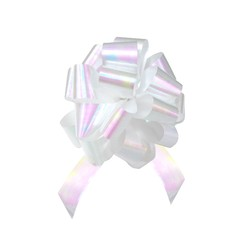 12 x Pull String Pom Pom Bow - Pearlescent White
