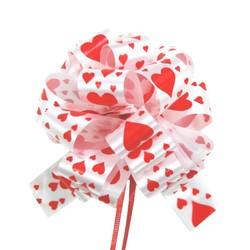 12 x Pull String Pom Pom Bow - Scattered Red Hearts