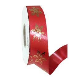 Printed Florist Tear Ribbon - 30mm x 45M - Red with Gold Snowflakes