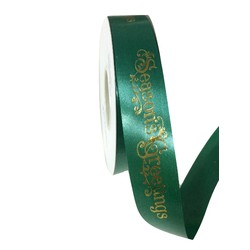 Printed Florist Tear Ribbon - 30mm x 45M - Green with Gold Season's Greetings