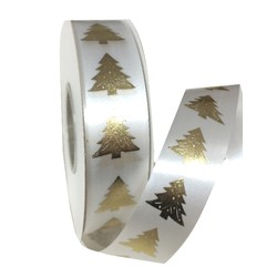 Printed Florist Tear Ribbon - 30mm x 45M - White with Gold Trees