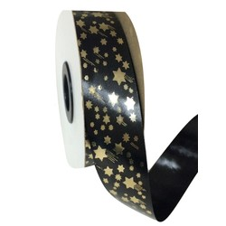 Printed Florist Tear Ribbon - 30mm x 45M - Black with Gold Shooting Stars