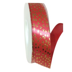 Printed Florist Tear Ribbon - 30mm x 45M - Red with Gold Stars