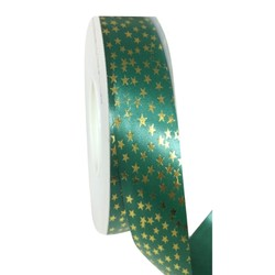 Printed Florist Tear Ribbon - 30mm x 45M - Green with Gold Stars
