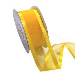 Sheer Organza Satin Edge Ribbon - 38mm x 25m - Yellow