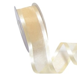 Sheer Organza Satin Edge Ribbon - 38mm x 25m - Cream