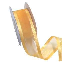 Sheer Organza Satin Edge Ribbon - 38mm x 25m - Gold