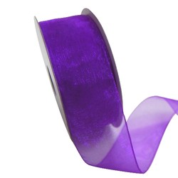Sheer Organza Woven Edge - 38mm x 25m - Violet