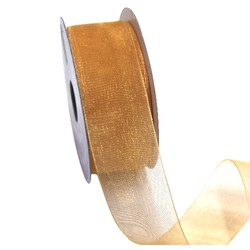 Sheer Organza Woven Edge - 38mm x 25m - Gold
