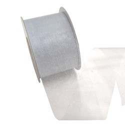 Sheer Organza Cut Edge Ribbon - 50mm x 25m - Silver