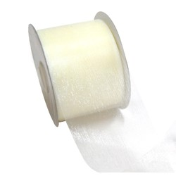 Sheer Organza Cut Edge Ribbon - 50mm x 25m - Cream