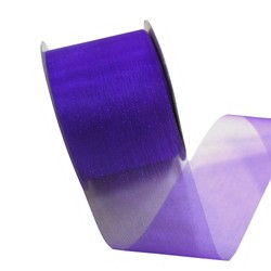 Sheer Organza Cut Edge Ribbon - 50mm x 25m - Violet