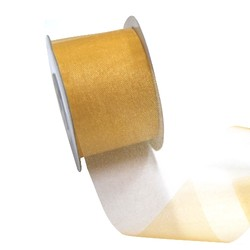 Sheer Organza Cut Edge Ribbon - 50mm x 25m - Gold