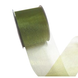 Sheer Organza Cut Edge Ribbon - 50mm x 25m - Avocado