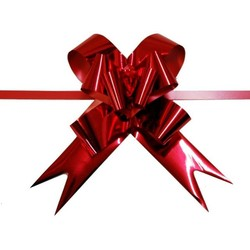 Pull String Butterfly Bows - Metallic Red