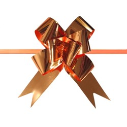 Pull String Butterfly Bows - Metallic Rose Gold