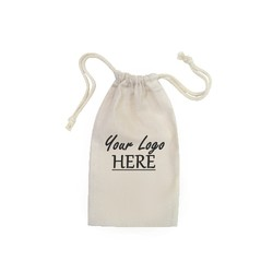 Custom Printed Calico Bags 15cm x 25cm with drawstrings - Your Logo with 1 Colour, 1 side