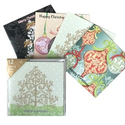 Box of 12 Luxury Glitter Christmas Cards & Envelopes
