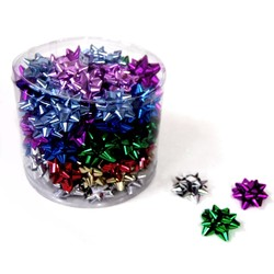 Mini Star Bows In Cylinder - 5cm - Metallic Assortment