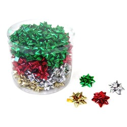 Mini Star Bows In Cylinder - 5cm - Metallic Xmas Assortment